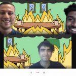Three team members talk while house burns 2021